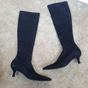 Stuart Weitzman Suede Square Toe Heel Black Boots